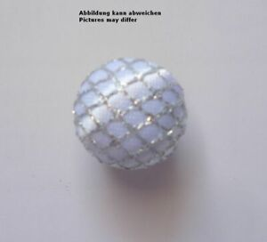 Design Buttons With Fabric Covered White With Silver Grille Semi-Sphere