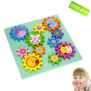 Sensory Educational Puzzle Toy Wooden Spinning Gears Calming Autism Special Need
