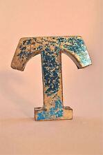 FANTASTIC RETRO VINTAGE STYLE BLUE 3D METAL SHOP SIGN LETTER T ADVERTISING FONT
