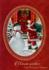 Christmas Santa And Snowman Warm Wishes Holiday Greeting Cards
