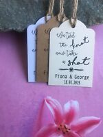 Personalised We Tied the Knot Take a Shot  Wedding Favour Tags  Thank You DFC712