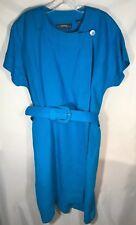 4d4027e233 Linda Allard for Ellen Tracy Blue Linen Short Sleeved Dress - Size 14