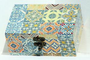 Regular size Wood handmade hinged trinket box decoupage moroccan design