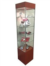 Tower Showcase Glass Display Case LED Lighting Lights Assembled Cherry New