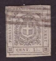 Modena, 15 centesimi bruno Governo Provvisorio usato         -CF34