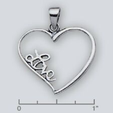 Heart & Love Inscription Pendant Charm Oxidized 925 Sterling Silver 23mm x 28mm