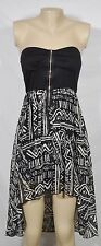 A'GACI Black Gray Strapless Hi-Low Dress Approx. Size Small Patterned Skirt