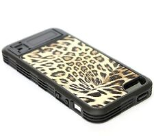 For iPhone SE 5S - HARD GUMMY TPU RUBBER BLACK YELLOW LEOPARD CHEETAH SKIN COVER