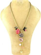 """19"""" Adjustable Gold Tone Necklace w Pink Heart and Flower Charms Fashion Jewelry"""