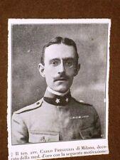 WW1 Prima guerra mondiale Tenente Avv.Carlo Freguglia di Milano Medaglia d'oro