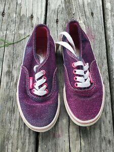 Vans ~ Girls Metallic Purple Sneaker Shoes ~ Size 11.5
