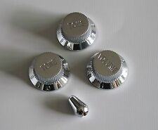 Chrome ST/Strat Guitar Volume Tone Knobs Strat Switch Tip Cap fits Fender