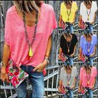 Summer Women Tops Casual V-Neck Short Batwing Sleeve Shirts Solid  Loose Blouse
