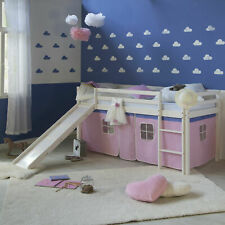 Hochbett Spielbett Kinderbett Kiefer mit Rutsche Vorhang pink 90x200 Jugendbett