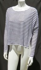 Eileen Fisher Brown White Striped Linen Crop Sweater Shirt Top size S as is