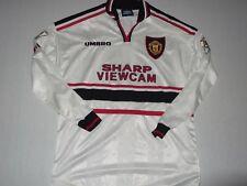 Manchester United 1997/98 MATCH WORN Clegg 32 AWAY FOOTBALL SHIRT UMBRO L/S