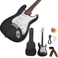 Beginner ST Electric Guitar Basswood Body Rosewood Fingerboard Black+Bag Strap