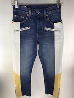 """Vintage Levi premium jeans color block Denim Mens 24x26"""" Blue Yellow 1980s Zip"""