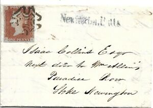 GB 1842 1d Red 4 Margins Black Maltese Cross Entire with Newington Butts S/L