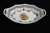 Vintage German Reticulated Bowl or Dish with Victorian Courting Scene Handled