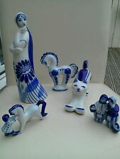 COLLECTION OF USSR RUSSIAN BLUE AND WHITE ORNAMENTS INCLUDING STUNNING CAT