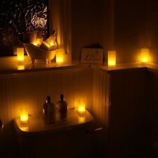 12 RECHARGEABLE CANDLES / LED TEA LIGHTS WITH HOLDERS FLICKERING SAFE FLAMELESS
