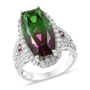 Watermelon Quartz, Multi Gemstone Platinum Over Sterling Silver Ring Size 6