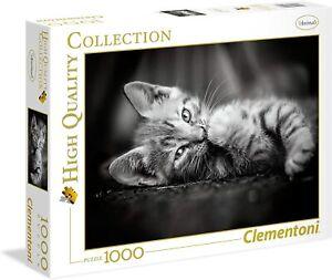 Puzzle Clementoni 1000 Pezzi Gatto Gattino Grigio Animali Bianco E Nero 39422