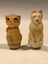 2 RARE German Celluloid Antique Cat  Roly Poly weighted vintage toy