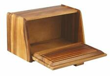 NEW Timber Bread Box Acacia Wood Wooden with Built in Chopping Board Bin Store