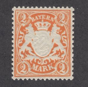 Bavaria Sc 55a MNH. 1890 2mk orange Coat of Arms, VF