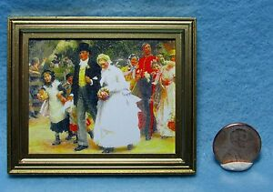 Dollhouse Miniature Country Wedding Picture in Frame ~ 9891GW