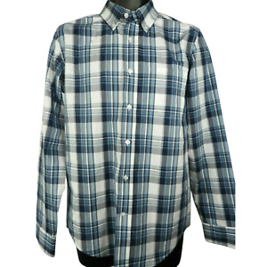 George Blue & White Checkered Long Sleeve Button Down Shirt Men's S (34-36)