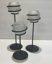 PartyLite Spiral Light Trio Candle Holders FrosTed Black Euc No Box