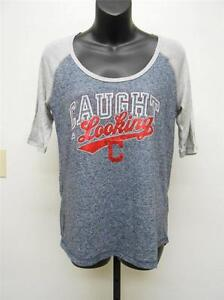 """New- Cleveland Indians Womens Size Medium (M) """"Caught Looking"""" Majestic Shirt"""