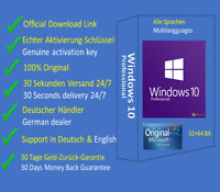 Win 10 Pro 32+64 Bit Vollversion Echter Product Key Offizieller Download Link