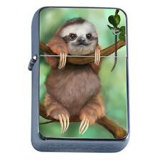 Cute Sloth Images D2 Flip Top Oil Lighter Wind Resistant Flame