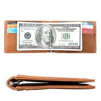 Men's Genuine Leather Slim Billfold Wallet RFID Blocking Card Holder Money Clip