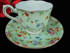 1920s ROYAL ALBERT Crown China Wild Flowers Floral Green Chintz Cup and Saucer