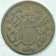 1871 2C Two Cent Piece Very Fine++ VF