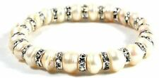 Classic Natural White Freshwater Pearl & Rhinestone Rings Stretchable Bracelet