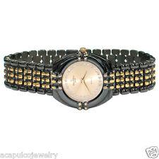 Jacques Edho Paris Quartz Unisex 2Tone Black Tone & Gold Plated w/ Crystal Watch