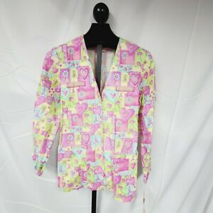 NWT Peaches Womens Breast Cancer Awareness Hearts Scrub Jacket Size Small