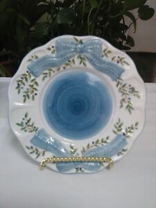 Candle Dish Pillar Holder by Diane Knott Blue ~ Blue Bow