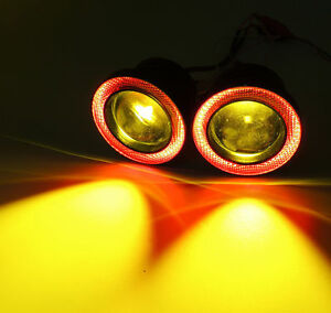 """2x 3.5"""" Round Yellow Bumper Driving Fog Light Lamp w/ Red Angel Eyes Halo Ring"""
