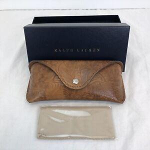 Ralph Lauren brown  tooled leather Sunglasses Glasses Eyeglasses Case