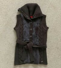 Brown Warm Fur Wrap Knitted Cape Pullover Button Vest Coat Sweater Cardigan S