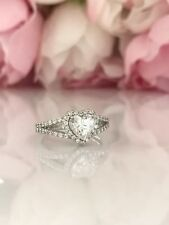 1.90 carat 14k Genuine White Gold  Heart cut  Engagement Wedding Promise  Ring