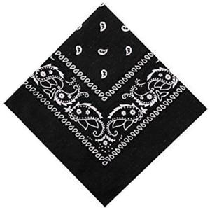 Paisley Pattern Bandana Head Neck Scarf Black & White & Grey & Red UK Band Boy