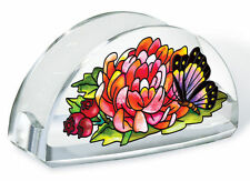 Indian Summer Business Card Holder Butterfly Flowers Berry Acrylic New Leaves